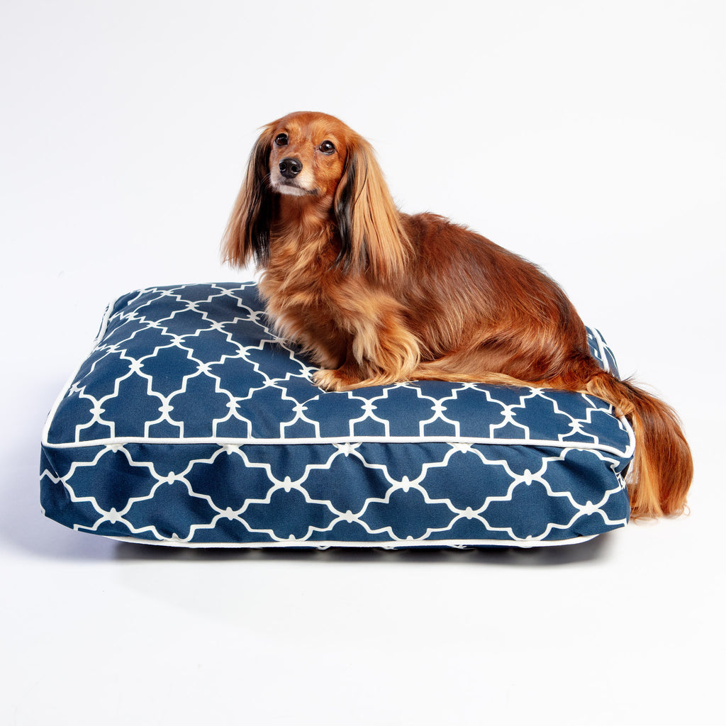 Pool & Patio Outdoor Dog Bed in Garden Gate Navy (Made in the USA) (Direct-Ship)