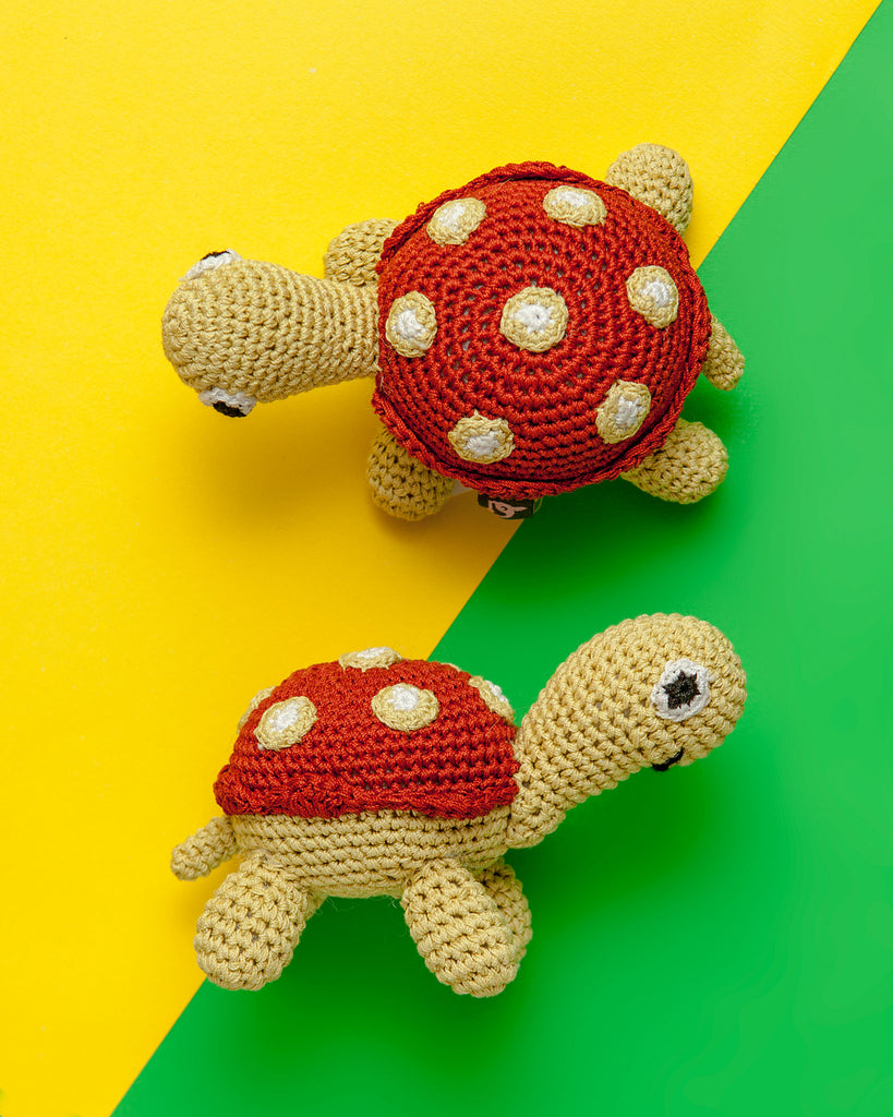 Turtle Squeaky Knit Dog Toy