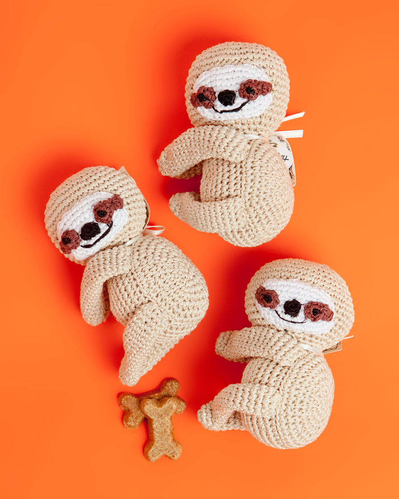 Baby Sloth Organic Knit Dog Toy