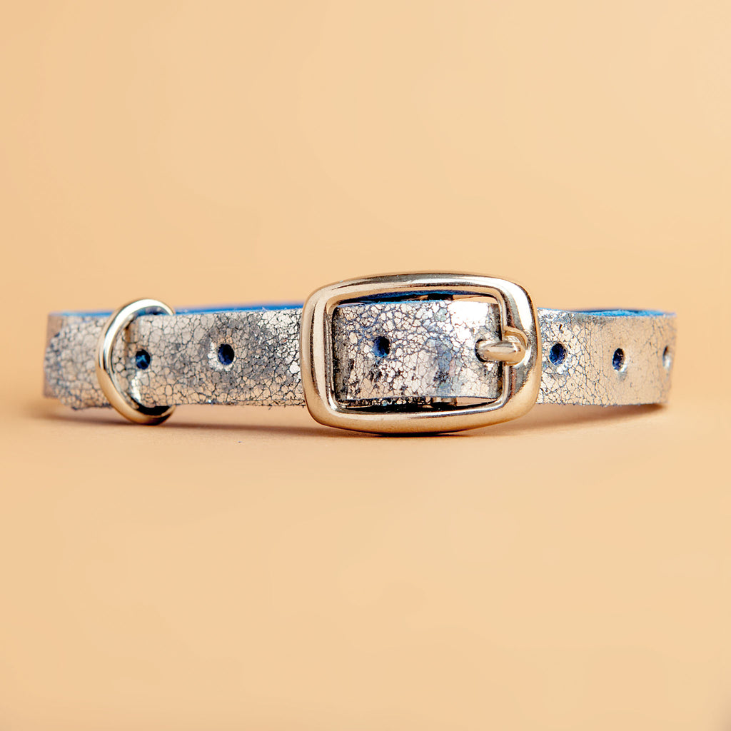 The Cleo Leather Tag Collar in Cobalt Silver Crackle (Dog & Co. Exclusive)