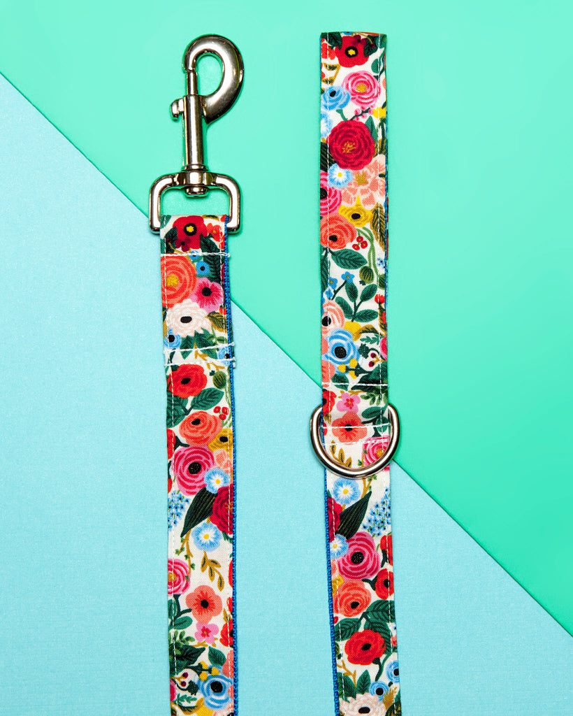 Blue Floral Print Dog Leash (Made in the USA)