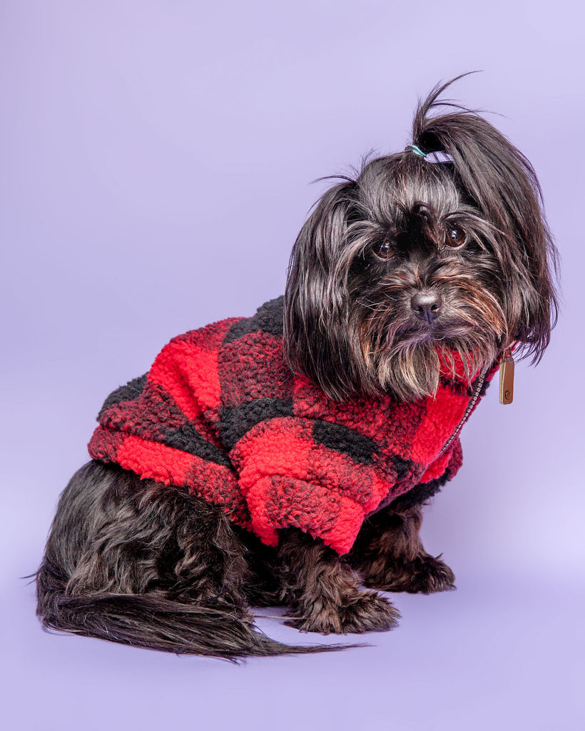 Wubby Quarter-Zip Dog Fleece in Buffalo Plaid