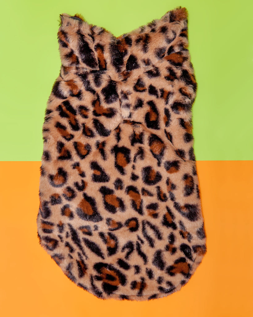 Faux Fur Coat in Leopard