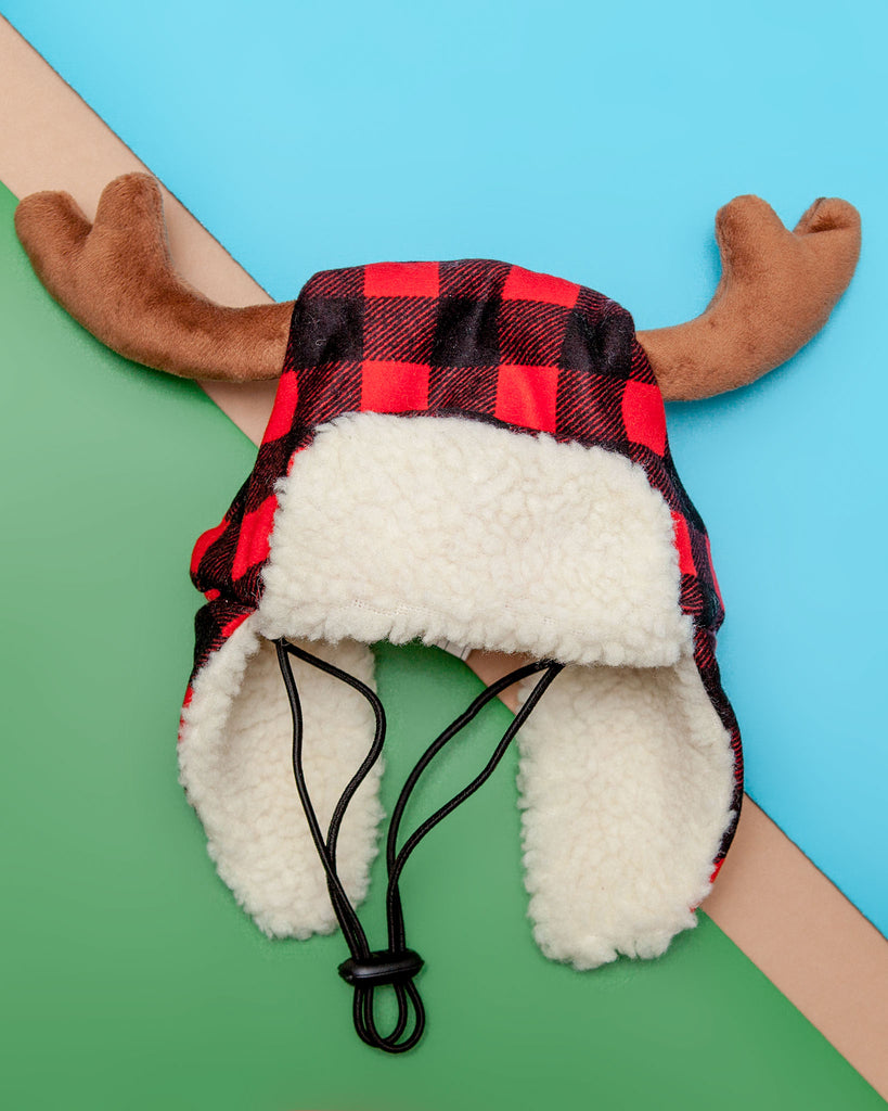 Buffalo Check and Antler Winter Dog Hat (FINAL SALE)