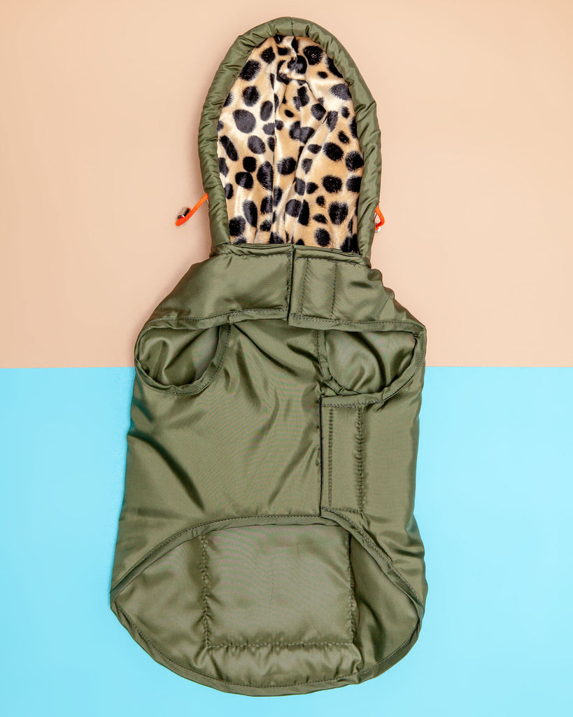Olive + Leopard Lining Puffer Coat for Dogs