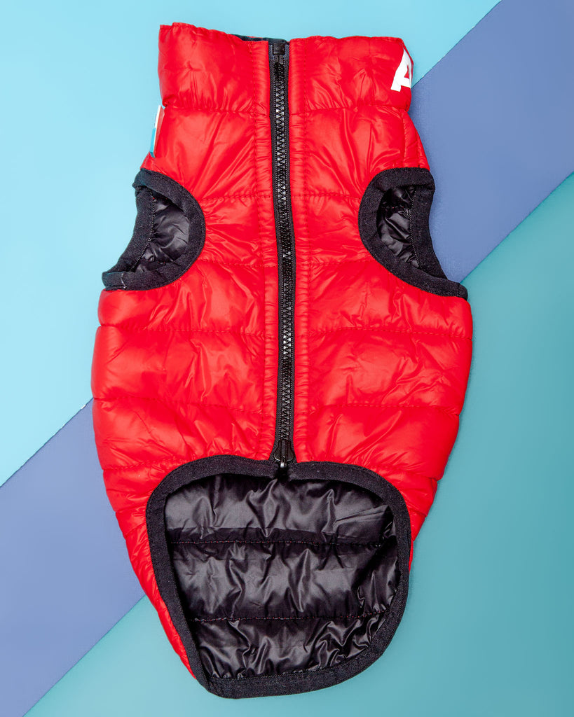 Reversible Puffer AiryVest in Red and Black