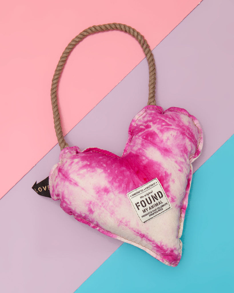 Batik Cotton Heart Dog Toy in Hot Pink (Made in the USA)