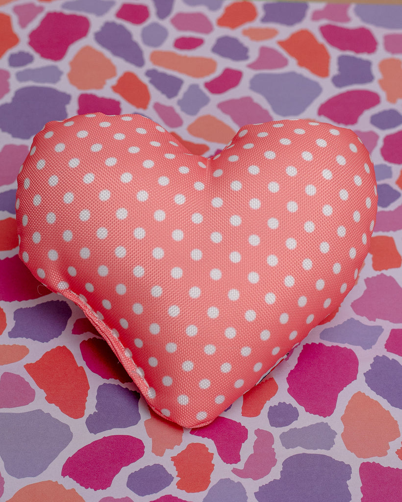 Dear & Dotty Heart-Shaped Dog Toys in Peach, Sunshine, or Lilac (Made in the USA)