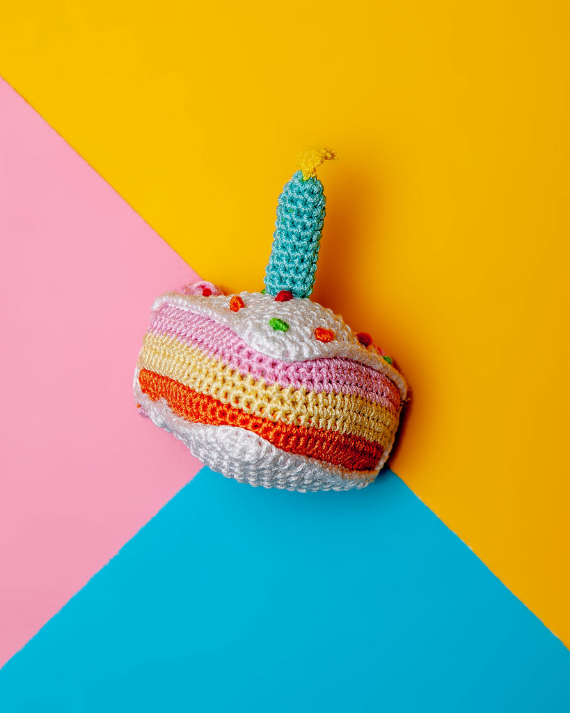 Birthday Cake Squeaky Knit Dog Toy