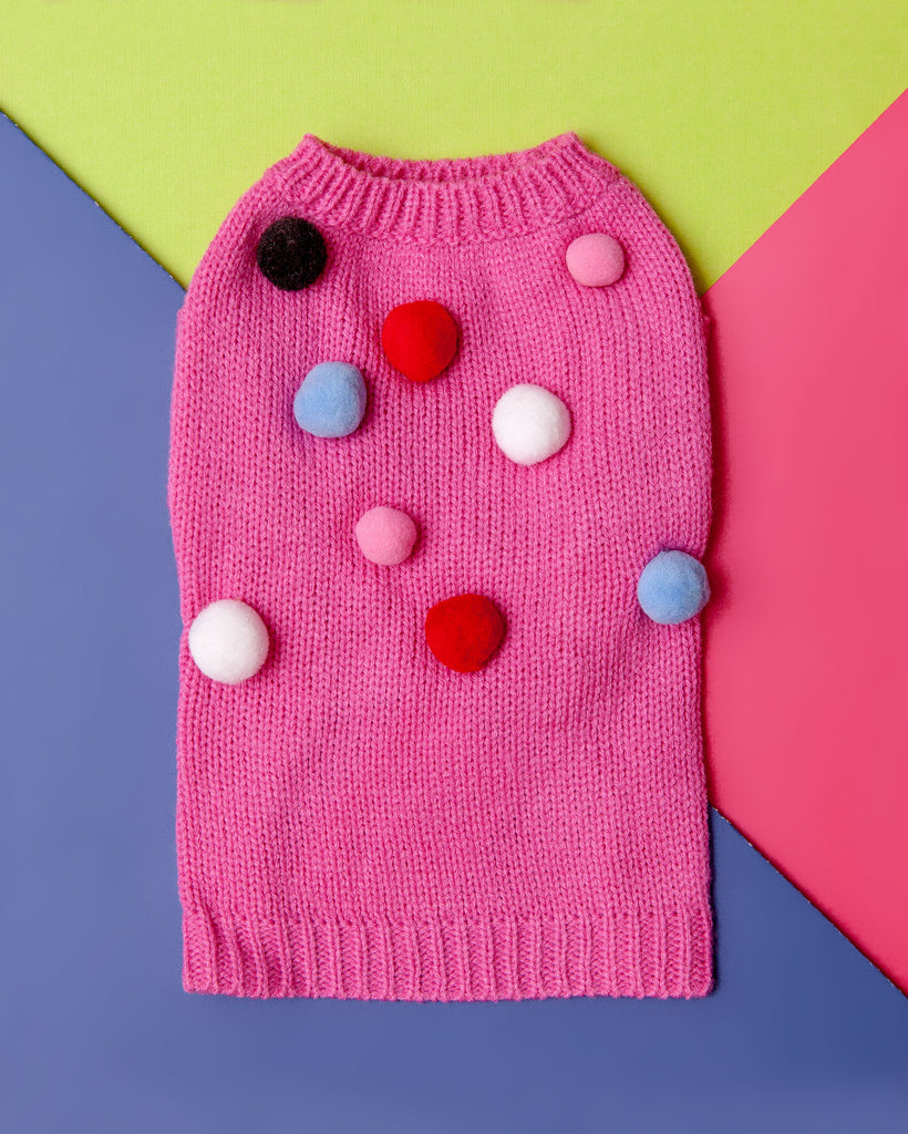 Pink Pom Pom Small Dog Sweater