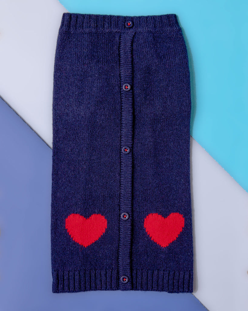 Heart Cardigan Dog Sweater in Navy