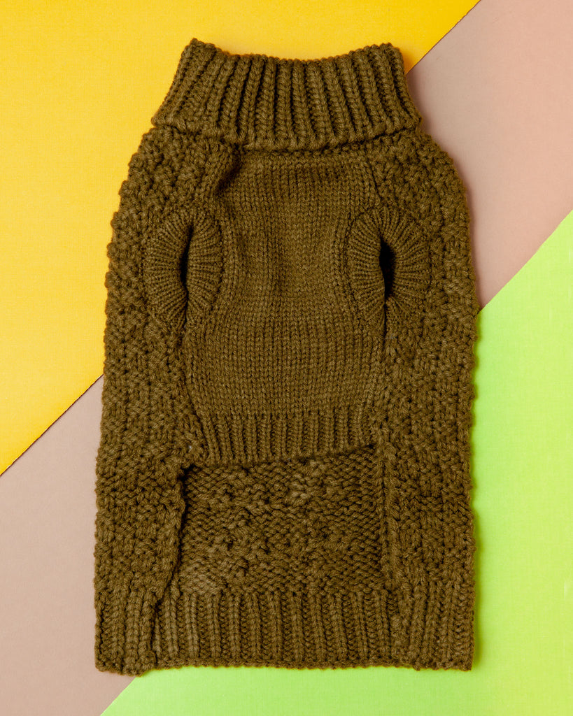 Super Chunky Dog Sweater in Olive (FINAL SALE)