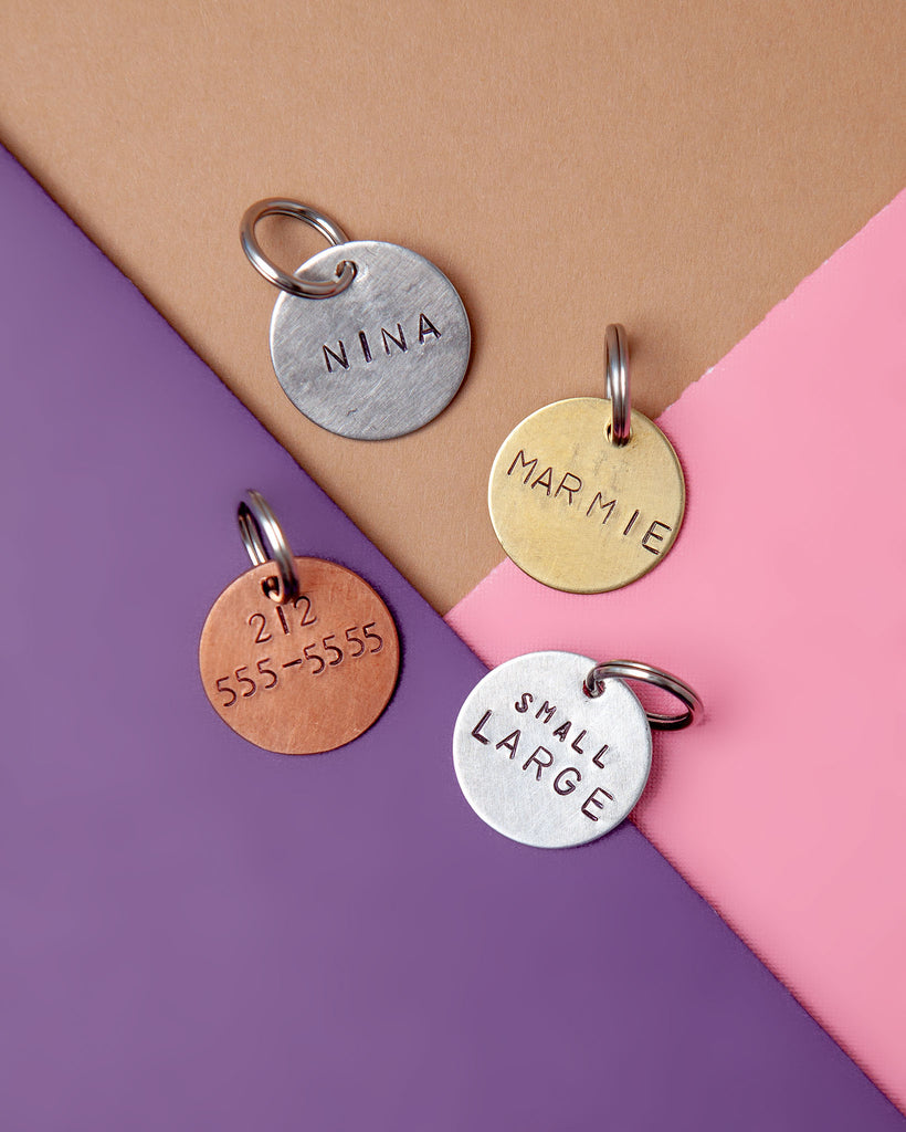 Custom-Stamped Round Pet Name Tag in Copper, Brass, or Aluminum (Custom/Drop-Ship)