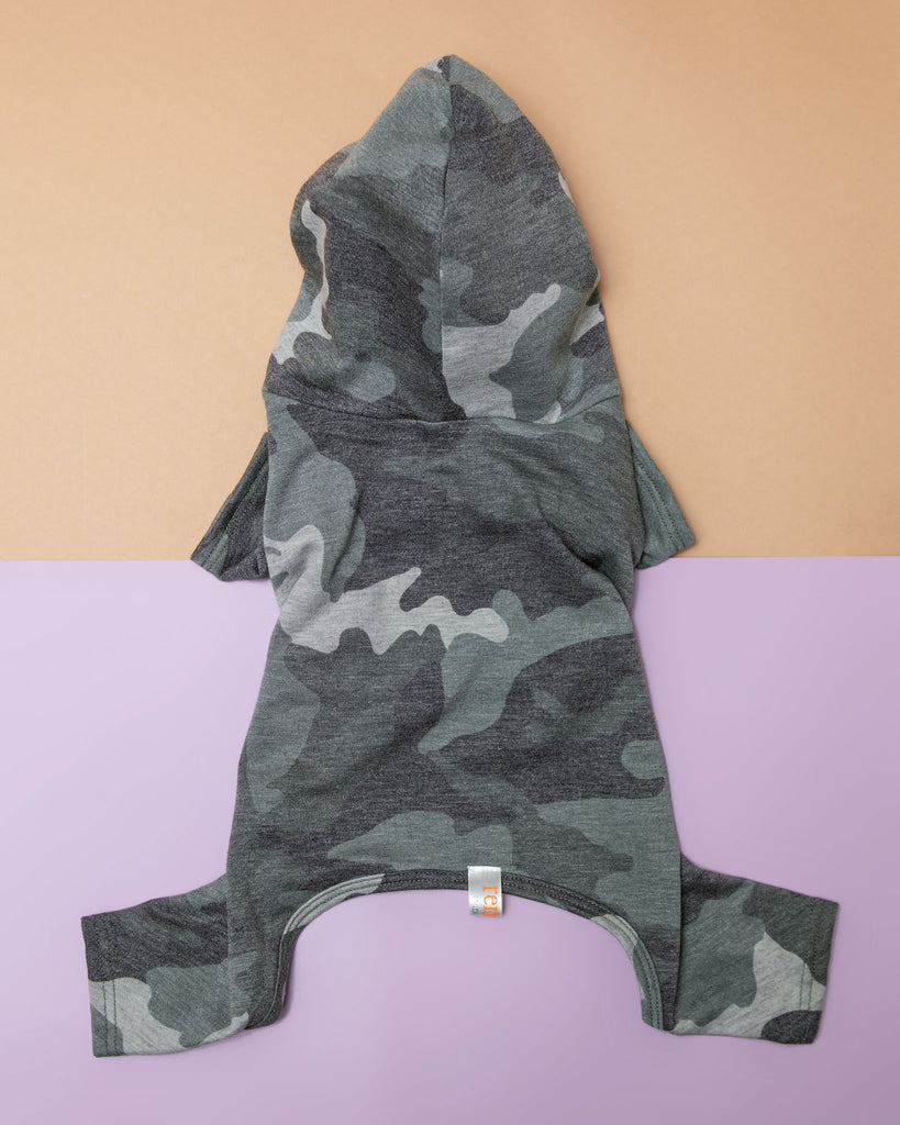 Hooded Camo Dog Onesie (Made in the USA)