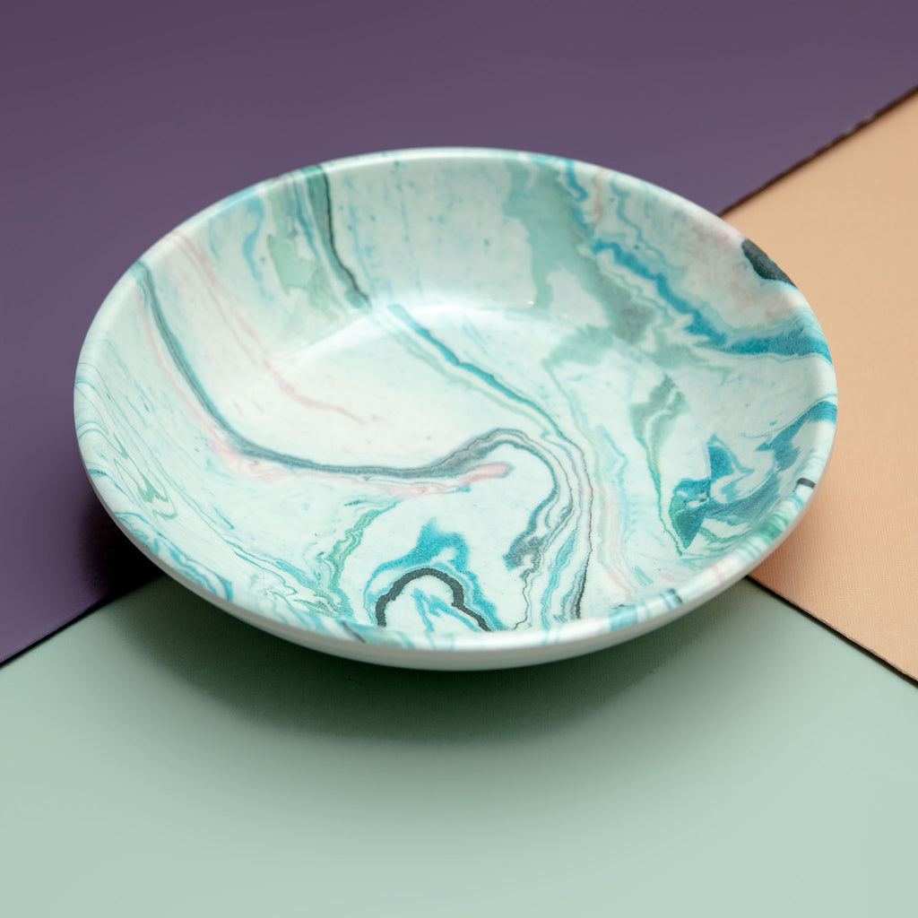 Melamine Cat Saucer in Blue Sky Marble