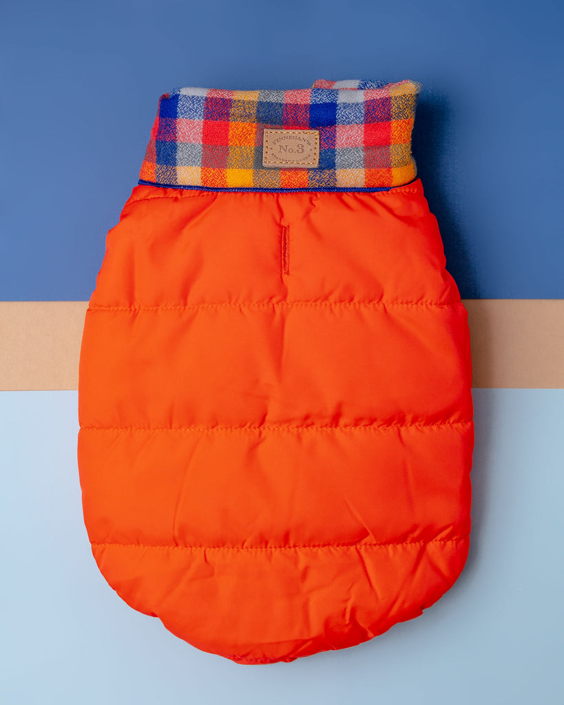 Baxter Bandana Puffer Dog Vest in Orange