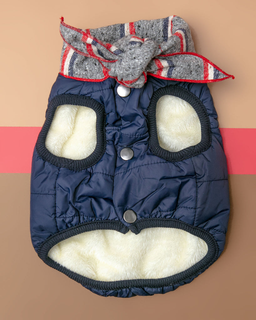 Baxter Bandana Puffer Dog Vest in Navy