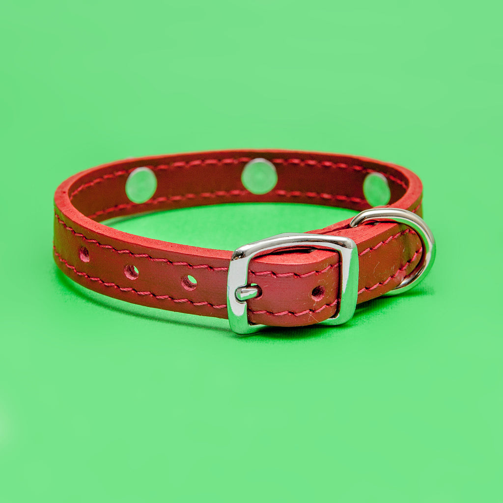 Happy Face Leather Collar in Red