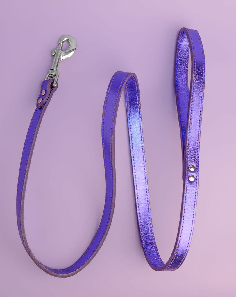 Shimmer Leather Dog Leash in Metallic Purple