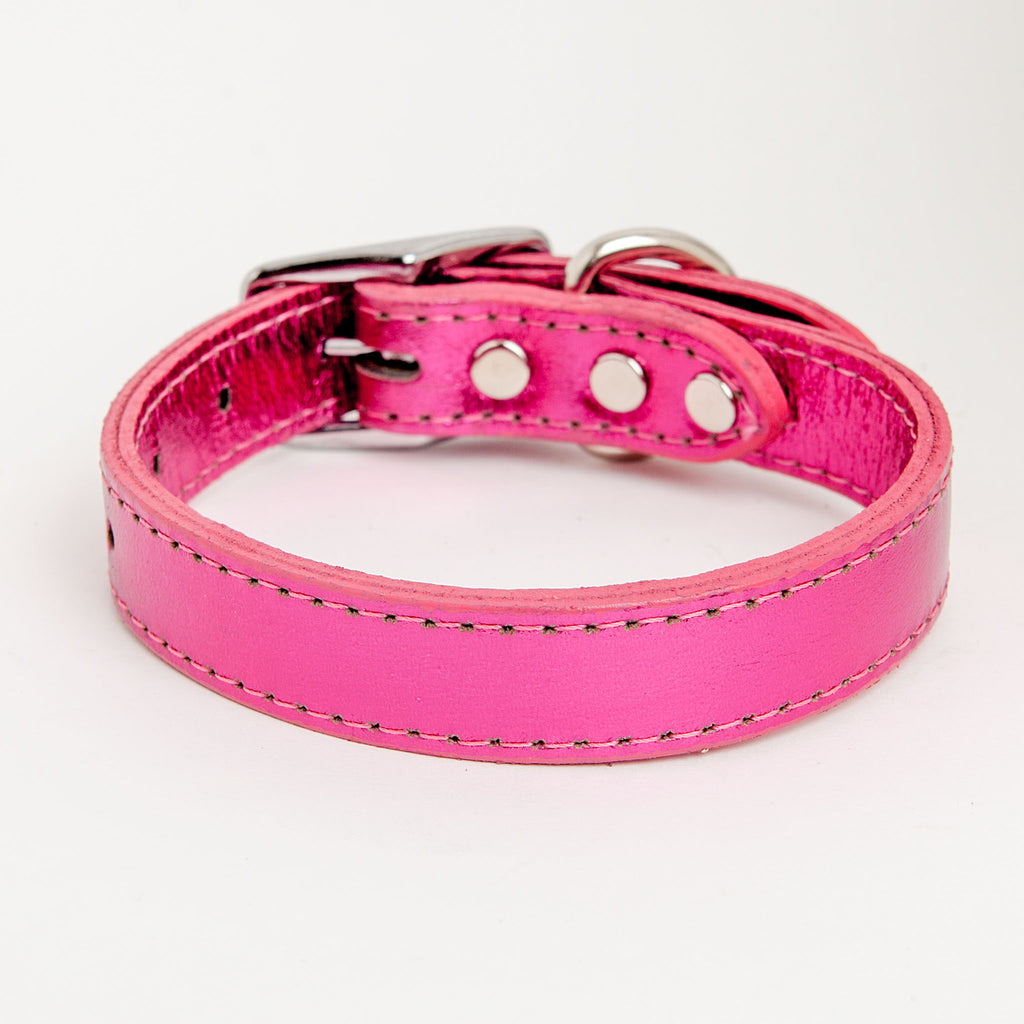 Shimmer Leather Dog Collar in Metallic Hot Pink
