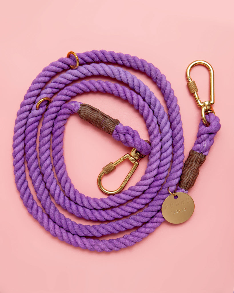 Adjustable Rope Lead in Wisteria (Made in the USA)