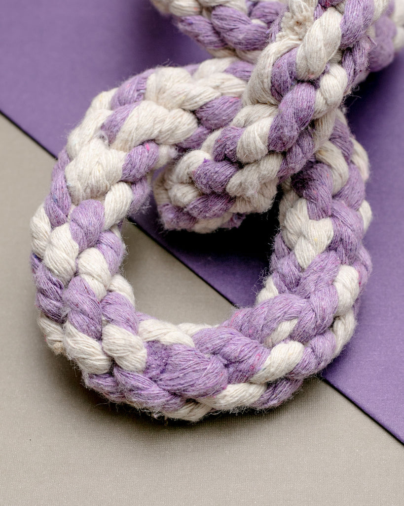 Triple Ring Rope Dog Toy in Lavender & White