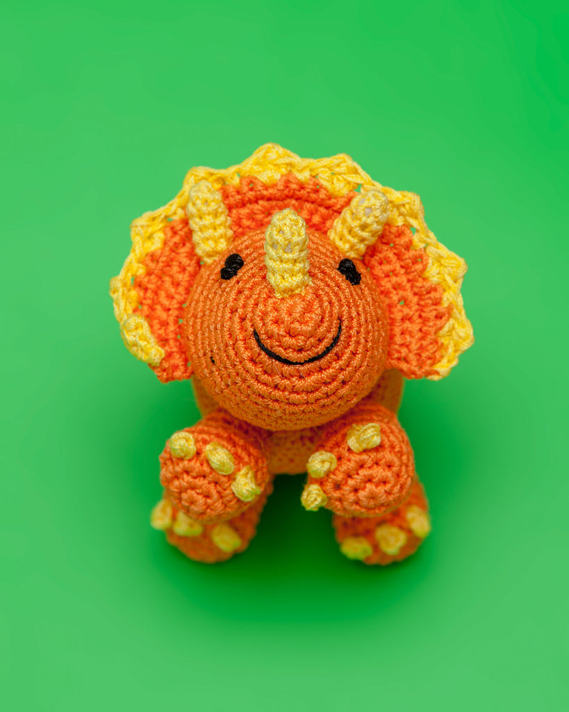 Triceratops Organic Knit Dog Toy