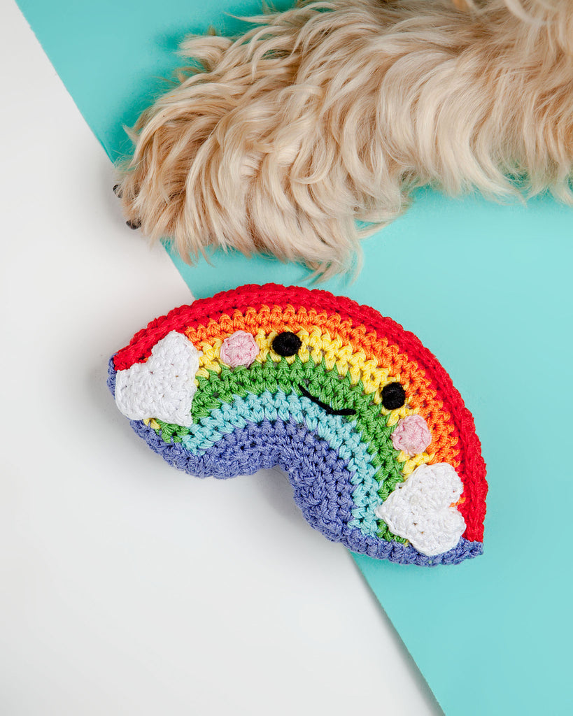 Happy Rainbow Organic Knit Dog Toy
