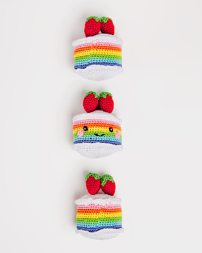 KNIT KNACKS | Rainbow Cake Organic Knit Toy