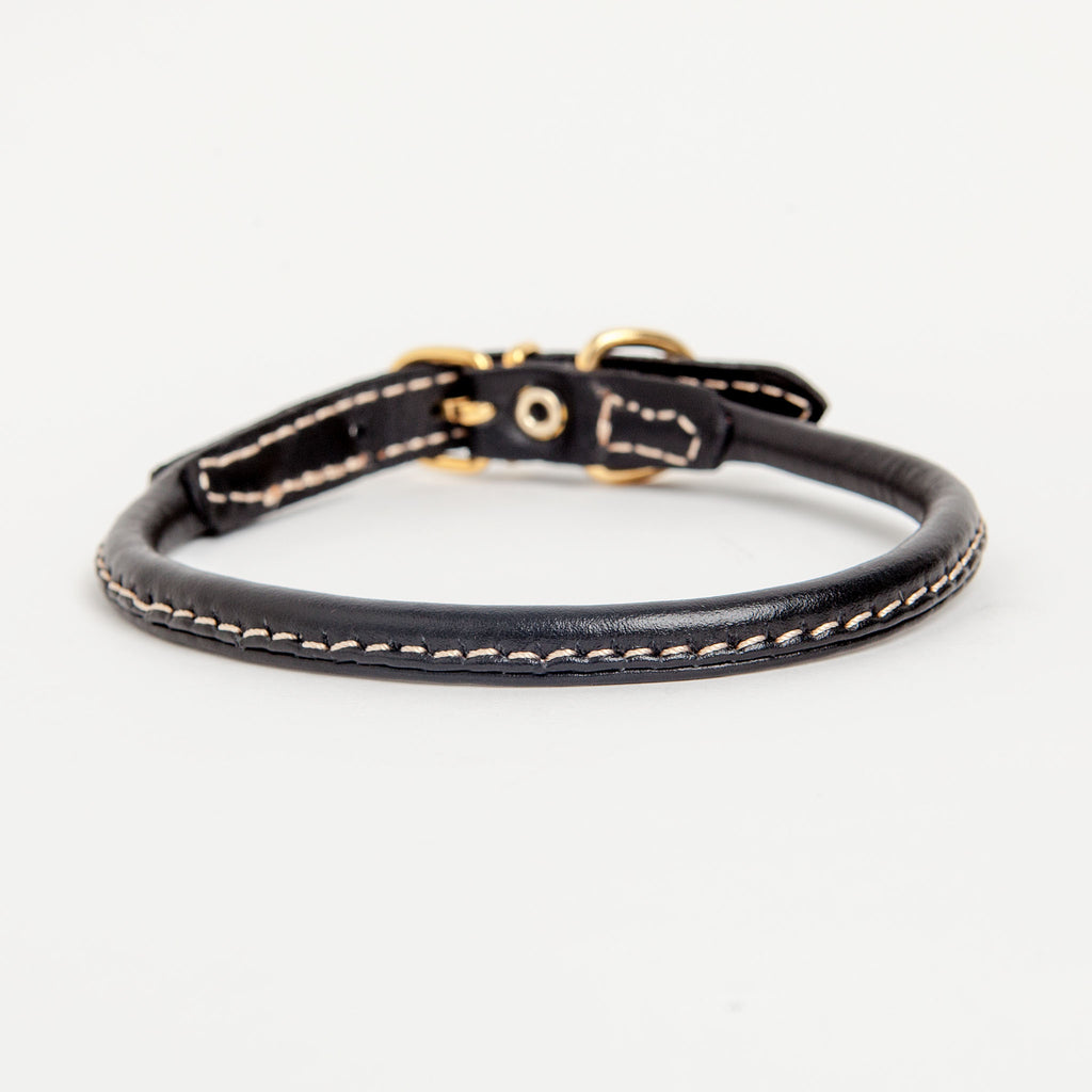 Italian Rolled Leather Dog Collar in Black