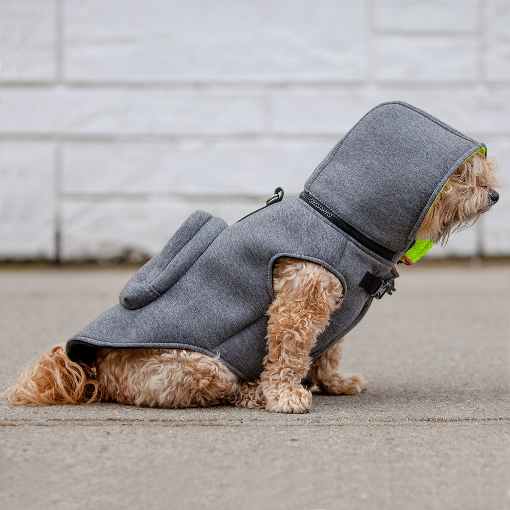 MORIKUKKO | Hoodie Backpack Vest in Grey and Neon