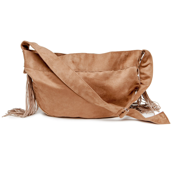 SUSAN LANCI | Fringe Crossbody Carrier in Tan