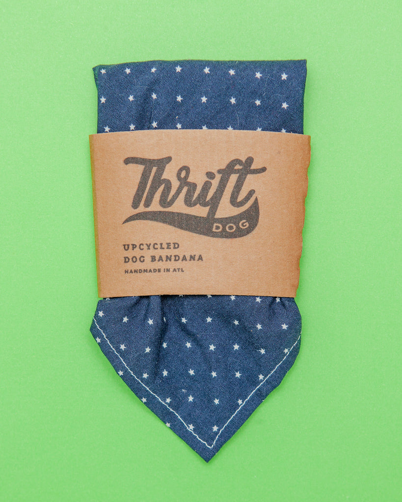 Upcycled Bandana in Navy with White Stars