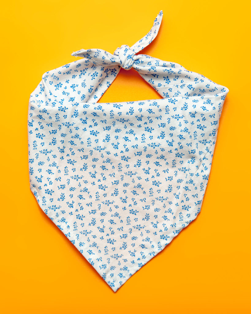 Upcycled Bandana in Summer Blue & White (FINAL SALE)