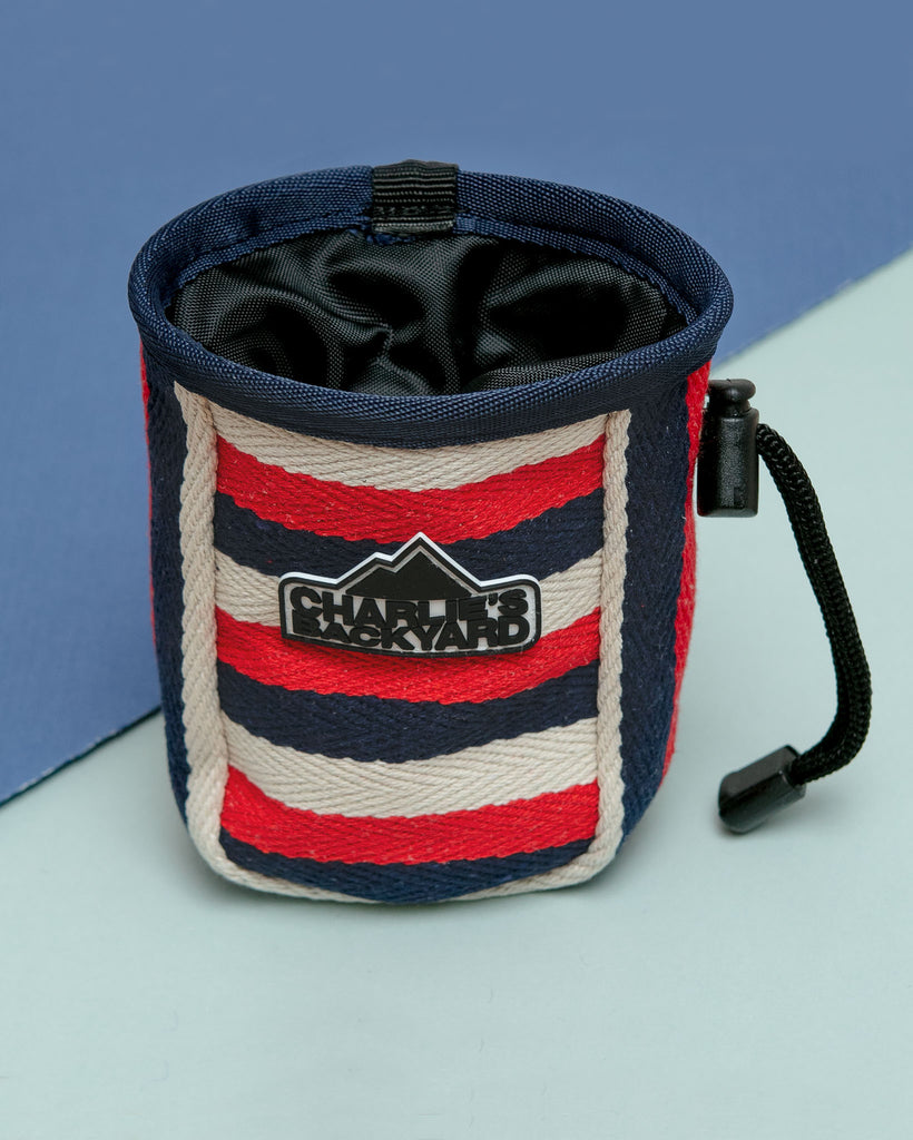 Dog Treat Bag in Navy Stripe