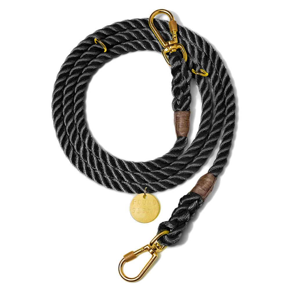 Adjustable Rope Dog Lead in Black (Made in the USA)