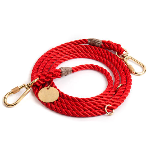 Adjustable Rope Lead in Red (FINAL SALE)