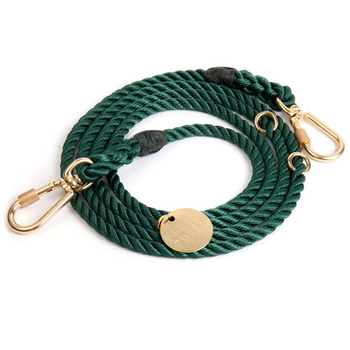 Adjustable Rope Lead in Hunter Green (Made in the USA)