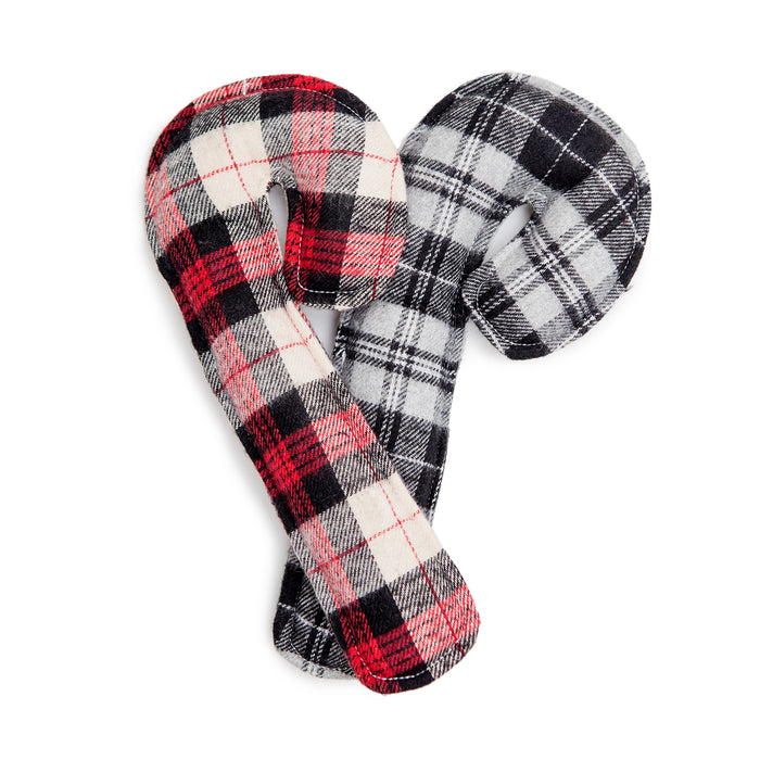 HOLIDAY HOUNDS | Canine Cane Toy in Red or Grey Flannel Plaid