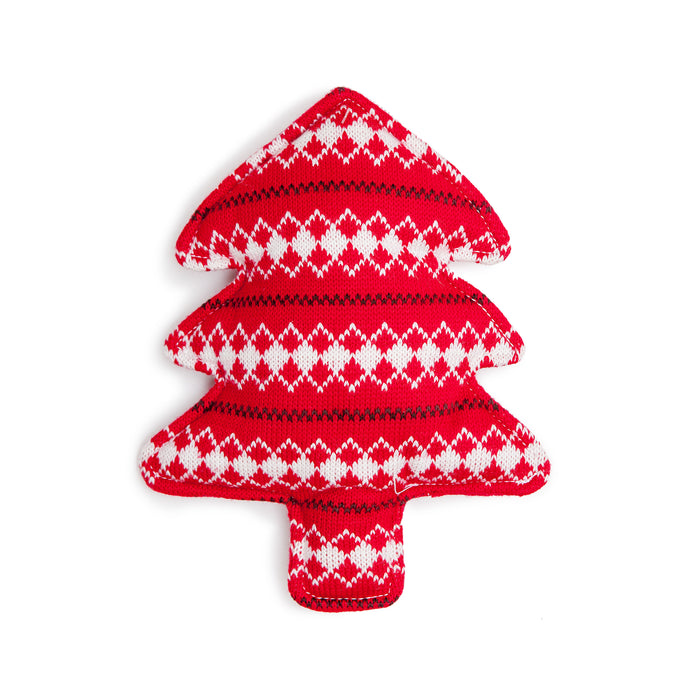 HOLIDAY HOUNDS | Sweater Knit Tree Toy in Red Argyle