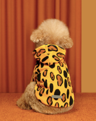 Animal Print Dog Hoodie in Golden Yellow (FINAL SALE)