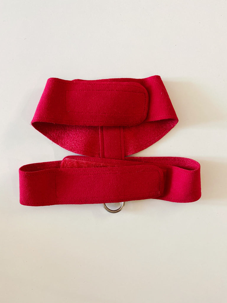 SUSAN LANCI | Ultra Suede Red Tinkie Harness with Crystals (PUPCYCLED | X-Small)