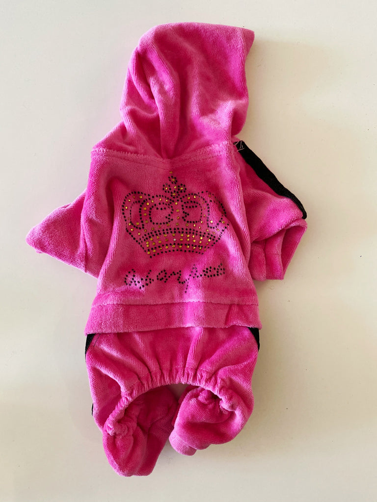 Hot Pink Velour Jumpsuit Onesie (PUPCYCLED | XXX-Small)