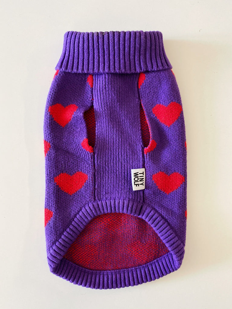 TINY WOLF | Purple & Red Heart Wool Sweater (PUPCYCLED | X-Small)