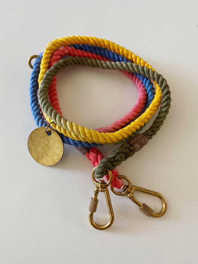 FOUND MY ANIMAL | Adjustable Rope Leash in B/R/G/Y Ombre (PUPCYCLED | Small)
