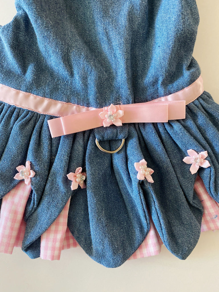 Denim & Pink Ruffle Harness Dress (PUPCYCLED | X-Small)