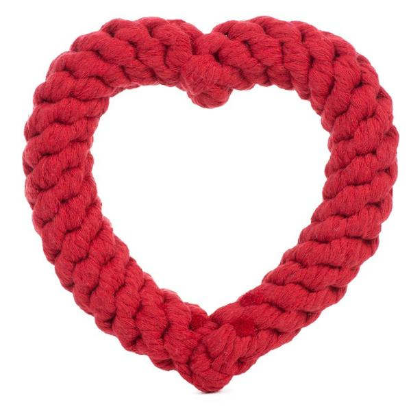 JAX & BONES | Heart Rope Toy in Red