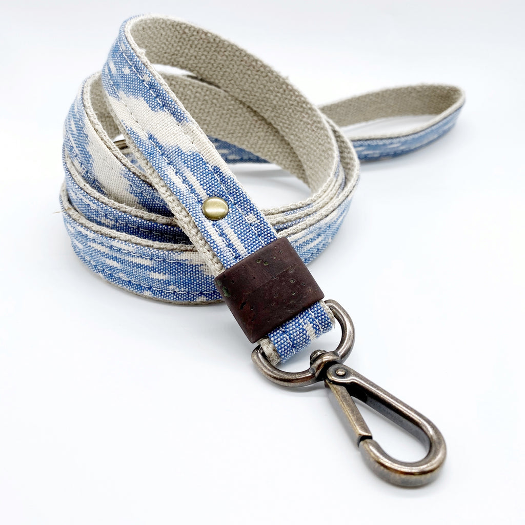 Pale Blue Ikat Leash
