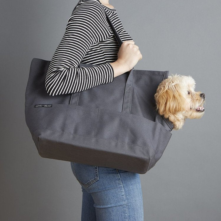Canvas Pet Tote in Dark Grey
