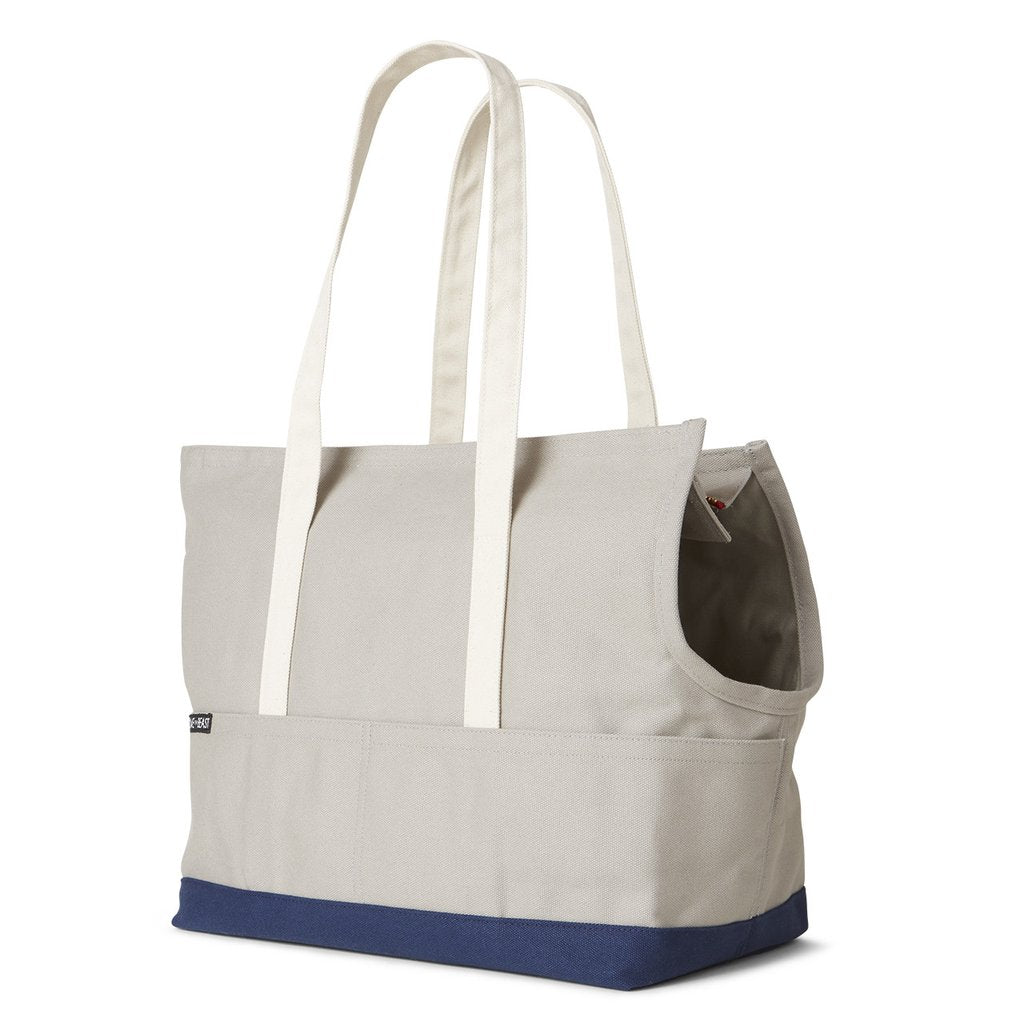 Canvas Pet Tote in Light Grey & Navy
